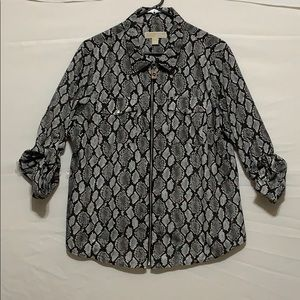 Michael Kors Snake Print Zip Up Blouse tab sleeve